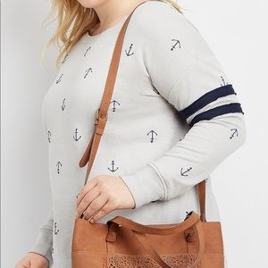 Maurice's nautical anchor football sweatshirt med
